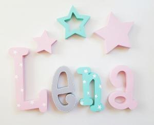 Lena - letras de madera- nombre en madera nombre personalizado nombre pintado a mano regalo bautizo baby shower regalo reciennacido nombre para pared letras de madera letras adhesivas juguetines