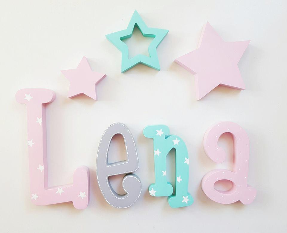 Nombre en madera letras de madera letras pared - Letras para decorar habitacion infantil ...