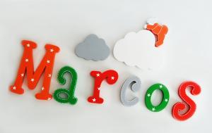 letras de madera - nombre marcos - lettras adhesivas - letras para la pared - letras para la puerta - decoracion infantil - decoracion de madera - juguetines