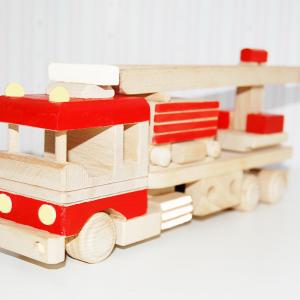 camion de bomberos - coche de bomberos - coche de madera - juguetines
