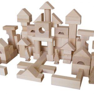 bloques construccion de madera 100 piezas bloques de madera bloques madera natural - juguetines.