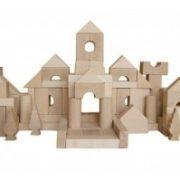 bloques construccion de madera 100 piezas bloques de madera bloques madera natural - juguetines1