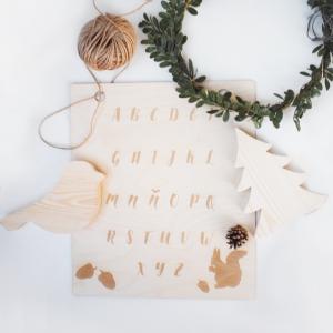 abecedario de madera + decoracion de madera + decoracion infantil + Juguetines