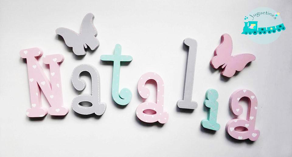 Nombre en madera letras de madera letras pared letras decorativas letras personalizadas - Letras para paredes infantiles ...