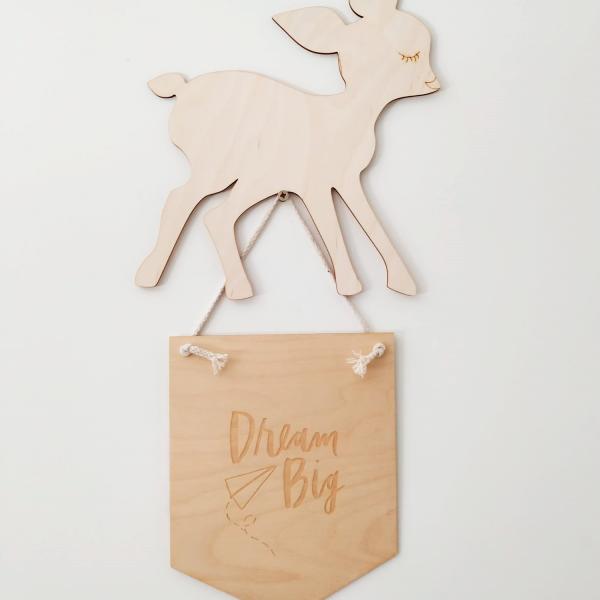 banderin de madera - decoracion infantil - animales de madera - cervatillo de madera - Juguetines
