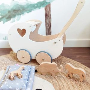 Carrito para muñecas hecho de madera y personalizado es perfecto para regal para cumpleaño, navidades o reyes magos