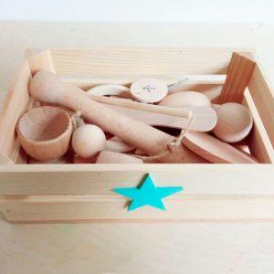 cesta tesoros montessori ideal para el desarrollo habilidades motoras finas, independencia y creatividad de los bebes